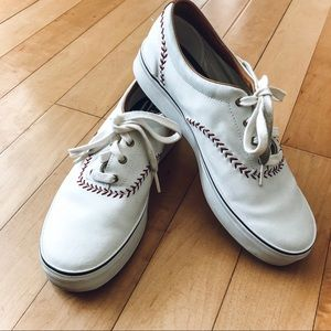 Keds White Leather Baseball Shoes